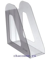 Подставка для бумаг вертикальная Фаворит тонированная серая ЛТ703